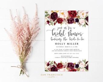 Bridal Shower Invitation INSTANT DOWNLOAD, Printable Bridal Shower Invite, Floral, Marsala, Roses | Holly Collection | PDF File, diy