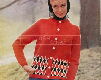 Lady's Cardigan DK 34-36ins Jaeger 3853 Vintage Knitting Pattern PDF instant download