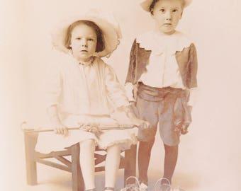 Vintage Photograph, Old Photograph, Antique Photograph 1910, Sepia Photograph, Black and White Photograph, Edwardian Boy Girl Fancy Dress