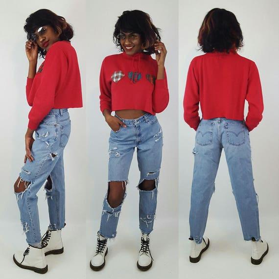 Vintage Red Plaid Hearts Cropped Crew Neck Sweatshirt Medium - Long Sleeve Crop Top Soft Grunge Top - Mock Turtleneck Raw Hem Cutoff Tee