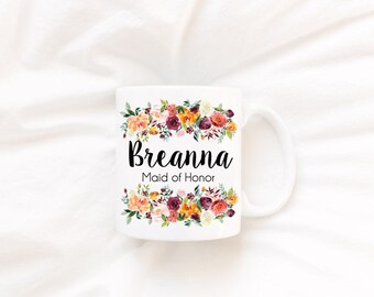 Maid of Honor Box, Personalized Maid of Honor Gift, Will You Be My Proposal Box, Floral Maid of Honor Mug with Name, Maid of Honor Proposal