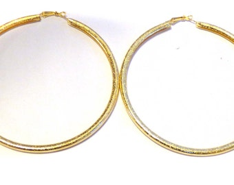 Large Gold 4 inch Hoop Earrings Frosted Metallic Gold tone Hoop Earrings Lightweight