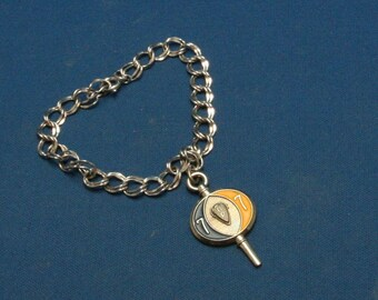 Vintage Sterling Silver 925 Charm Bracelet With Jostens 1977 Key Fob