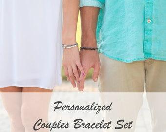 Personalized Couples Bracelet Set // Morse Code Bracelets for Couples // Boyfriend Girlfriend Jewelry // Long Distance Relationship Bracelet