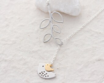 SILVER Bird Necklace, Mother and Son hanging out. Mother and Daughter.  Lariat Style Necklace Mothers Jewelry, Mother and Baby