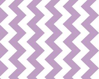 REMNANT PIECE - Riley Blake Designs Lavender White Medium Chevron Fabric - Free Shipping