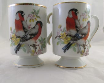 Set of 2  Royal Crown Bird Lovers Pedestal Mugs Coffee Cups with  Gold Leaf Trim