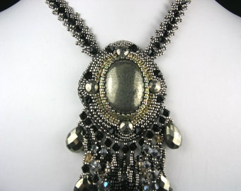 Beaded Jewelry, Bead Embroidery Statement Necklace Pyrite with Fringe