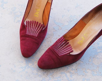 vintage 60s High Heels - 1960s Maroon Red Suede Heels Leather and Lace High Heels Pumps Shoes Sz 8 39