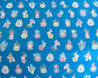 Erin McMorris Fabric Summersault - Flowerpop EM30 Lake - Freespirit Cotton - One Yard