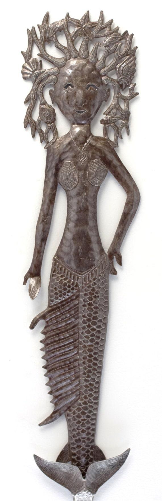 "Flipped Tail Mermaid, Haitian Metal Wall Art 7"" x 32"""