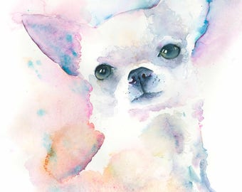 Chihuahua Dog Art  Pet Portrait Painting watercolor cute Dog lover gift Pet Portrait dog art pet lover gift girl room decor home wall art