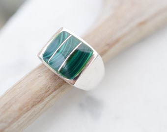 Sterling Silver Malachite Inlay Ring, Sterling Silver Malachite Jewelry, Taxco Malachite Ring, Green Gemstone Ring, Sterling Inlay Ring