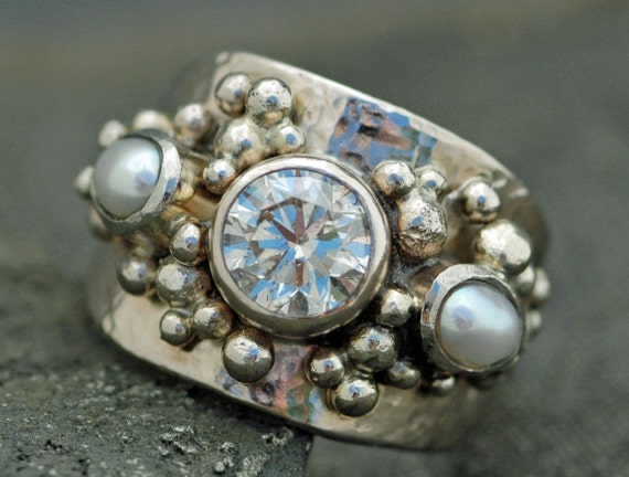 1.5 Carat Brilliant Cut Moissanite and Seed Pearls in Recycled 14k Gold- Custom Made