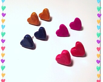 Heart Earrings, Heart Posts, Polymer Clay, Tiny Clay Hearts, Blue Heart, Gold Jewelry, Miniature Earrings, Small Posts, Tiny Clay Posts