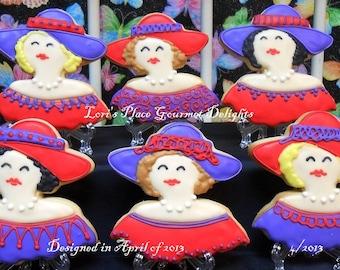 Red Hat Ladies Cookies - Red Hat Inspired Cookies - 12 Cookies