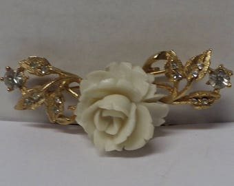 BSK Celluloid Flower With White Stone Brooch
