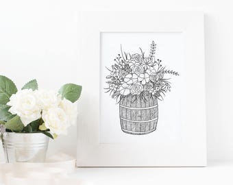 Flower Coloring Page, Printable Coloring Page, Digital Download, Nature Drawing, Flower Drawing, Flower Artwork, Mother's Day Gift, Nursery