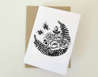 Bees and Roses Greeting card