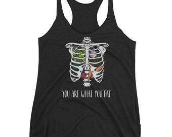 you are what you eat | women's tank - black w/ colored ink