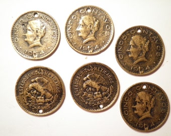 4 Goldplated Mexican Coin Charms