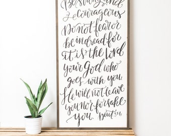 Strong and Courageous {Handlettered} 2x4
