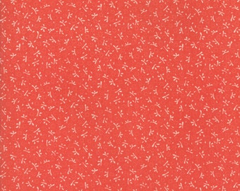 Fig Tree Fabric - Ella and Ollie Fabric Yardage - Moda Quilt Fabric - Small Red and Cream Floral Fabric By The 1/2 Yard -