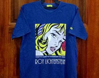 Rare!! ROY LICHTENSTEIN T-shirt nice design spellout crew neck dark blue colour large size