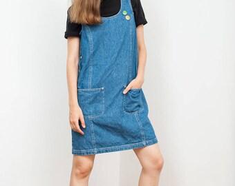 Denim Sleeveless Dress with Pockets