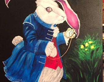 white rabbit original acrylic painting
