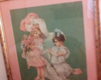 """Maud Humphrey diecut, """"Bridesmaids,"""" framed"""
