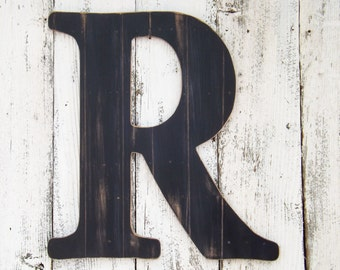 """24"""" Ex Large Letter ~ BLACK  Faux Wood Plank Finish~Letters A~Z~Large Wall Letter~Letter R"""