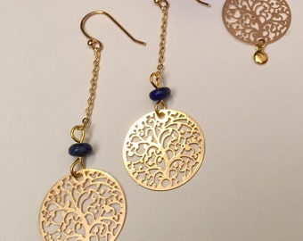 Lapis Lazuli and gold plated earrings