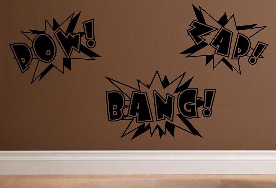 wall decal Super hero comic book words Pow Bang Zap kids decal