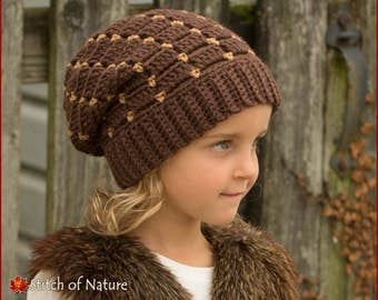 Crochet PATTERN - The Concord Beanie,Slouchy Beanie Pattern, Slouchy Hat Pattern (Toddler to Adult sizes - Girls, Boys) - id: 16041