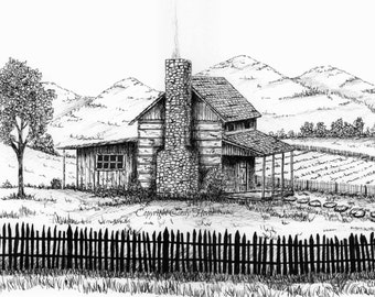 Set of 3 Greeting cards, Old Log cabin,  blank inside, pen and ink,  log cabin, mountain, mountain cabin, cards, greeting cards
