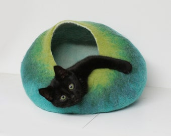 Cat Cave Bed House Vessel Furniture Cocoon Hand Felted Wool - Teal Green Ombre Bubble Crisp Contemporary Modern Minimal Design READY TO SHIP