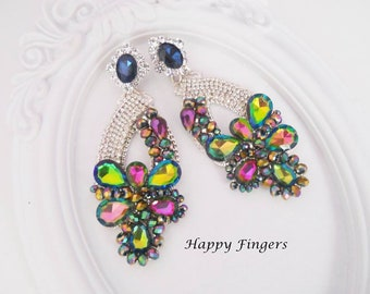 Colorful Earrings Big Earrings Statement Earrings Multicolor Earrings Rhinestone Earrings Glamorous Earrings Gift For Her Crystal Earrings