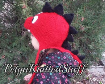 Dinosaur Hat, Dino Beanie with Earflaps,Knit Dinosaur Hat,Knitted Dragon Hat