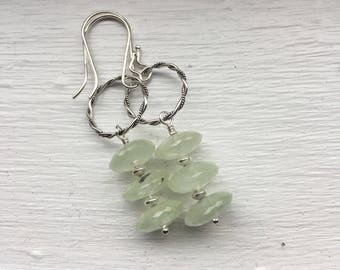 Prehnite and Sterling Silver Earrings - Free U.S. Shipping