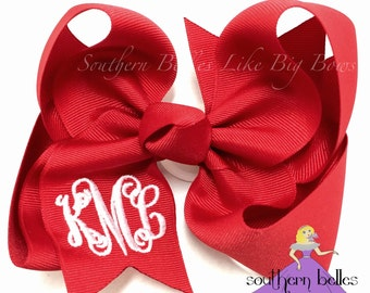 Red Monogrammed Bow in Large, Big Monogrammed Christmas Bow, Personalized Gift for Girl, Monogrammed Bow, Red Hair Bow, Big Boutique Bow