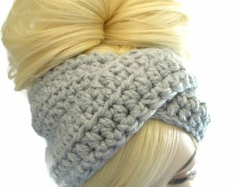 Gray Ear Warmer Headband, Turban Headband, Winter Headwraps, Gray Headband, Crochet Headband, Winter Headband,  Womens Headband