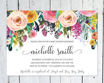 Baby Shower Invitation Girl, Floral Baby Shower Invitation, Colorful, Watercolor, Flowers, Printed, Printable