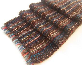 Chenille douce écharpe tissé à la main, automne riche en couleurs