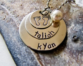 Custom Stamped Name Necklace For Moms - Personalized Birthstone Charm - Three Stacked Discs, Baby Footprints