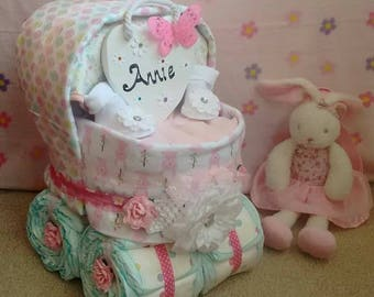 Beautiful Pink Pram Baby Girl Nappy Cake Diaper Cake New Baby Gift Baby Shower Christening Personalised