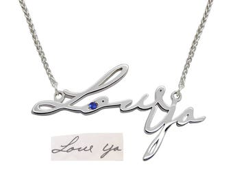 Silver Handwriting Jewelry, Handwritten Gift for Mom Handwriting Gift for Grandma, Handwritten Necklace for Mother Jewelry for Her gift