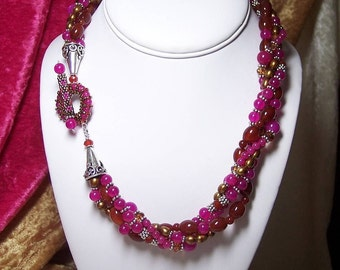 Bougainvilla and Nonni's Iced Tea - An OOAK Torsade Necklace with a Custom Peyote Stitch Toggle Clasp