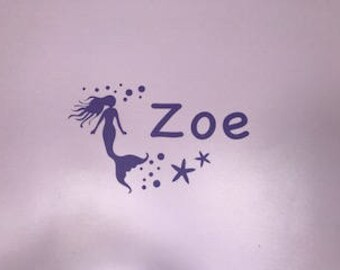 Personalized Mermaid Wall Decal-Mulitple colors available!