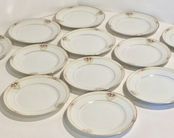 Noritake Bread & Butter Plate Set of 12,The Vitry,Antique China,Hand Painted China,Nippon China